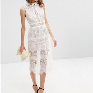 ASOS Lace lattice geo midi dress